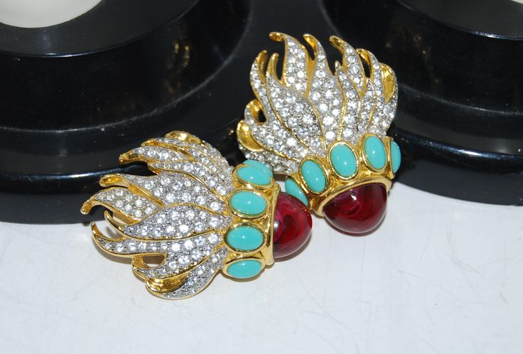 Vintage Elizabeth Taylor Clip Earrings Eternal Flame EUC  Rhinestones by Savesitall on Etsy