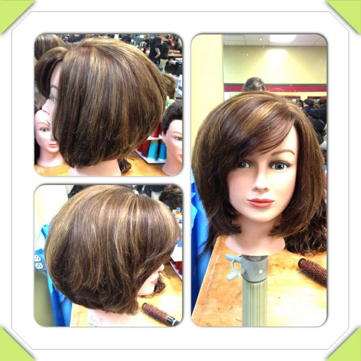 Layered Stacked Bob With Side Swept Bangs By Beallen