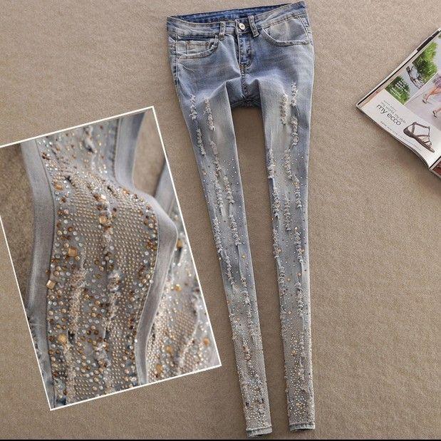 Бесплатная доставка новый 2016 джинсы женские весна лето узкие рваные джинсы мода стразами джинсы купить на AliExpress