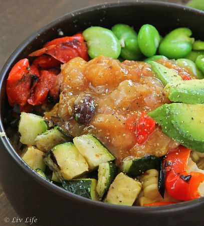 Summer Grilled Veggie Salad with Couscous and Rhubarb Peach Chutney