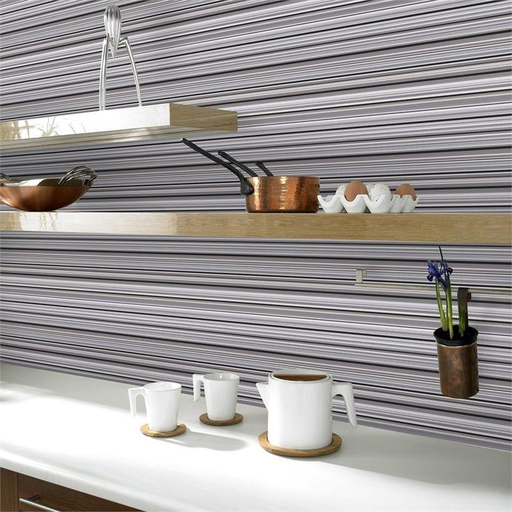 Contour 52cm x 10m Antibac Linear Black Wallpaper #splashproof #pastethewall #kitchenwallpaper #bathroomwallpaper