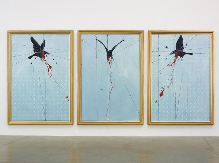 Damien Hirst The Crow 2009 Oil on canvas Triptych, each: 2286 x 1524 mm | 90 x 60 in