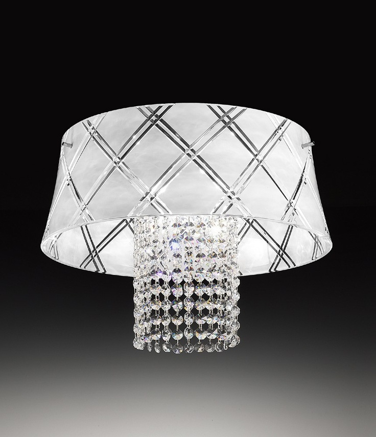 ceiling lamp, hand crafted white decorated glass and crystal pendants.    #glass_lamp #crystal #home