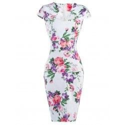 Cheongsam Style Floral Pattern Bodycon Dress
