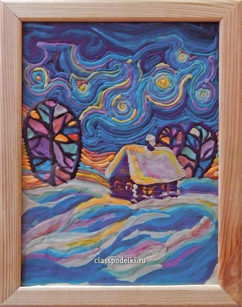 Панно «Зимний вечер» из пластилина.: