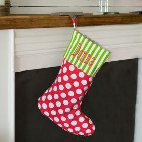 Polka Dots Christmas Stocking | Monogrammed Christmas Stockings | Personalized Christmas Stocking.
