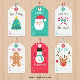Набор симпатичных рождественских тегов
