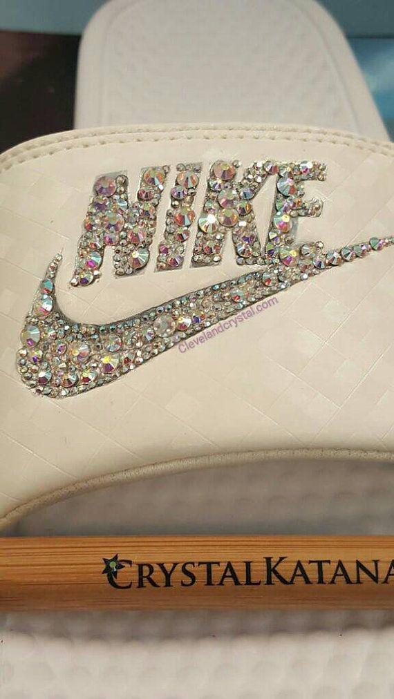 SWAROVSKI Nike slides by gurlbuy on Etsy