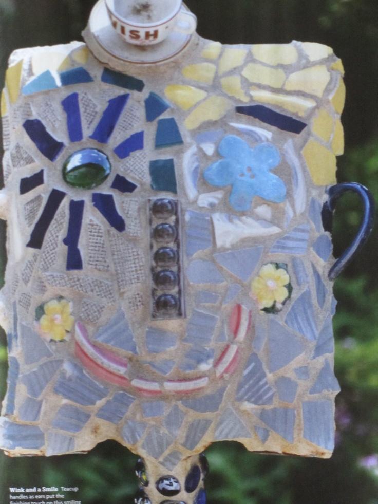 mosaic a shovel for yard art