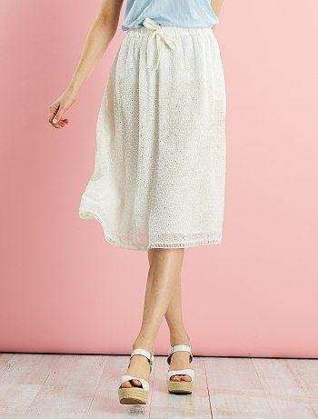 Falda midi de bordado inglés                             écru Mujer   - Kiabi