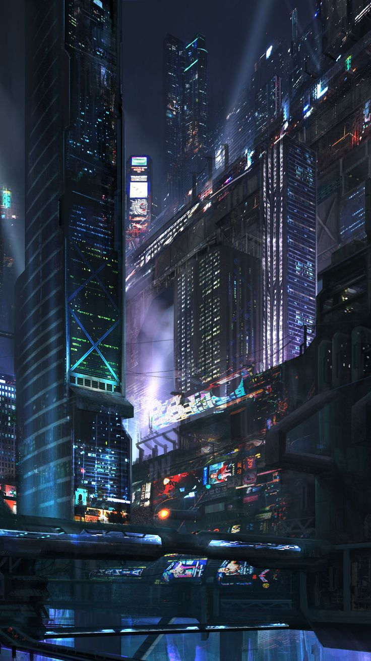 Futuristic city at night Mobile Wallpaper 14008 | Phone ...