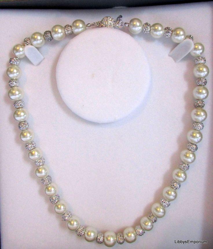 Equilibrium Pearl & Crystal Shamballa Necklace