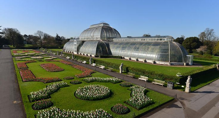 Kew Gardens, London.  Palm house and parterre with tulips and spring flowers, April 2015