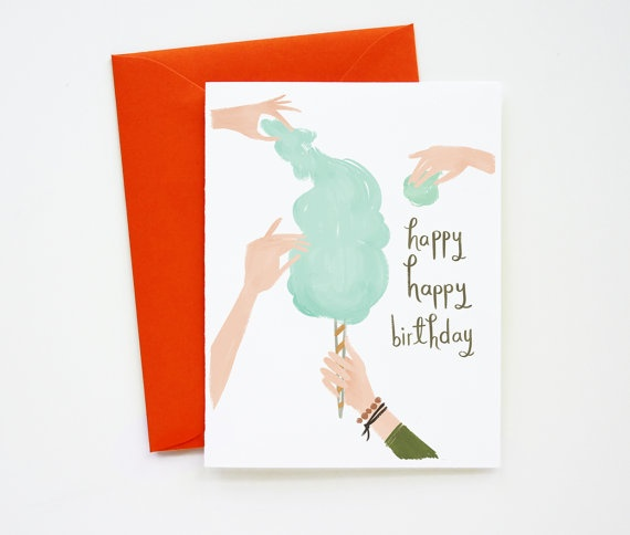 Cotton Candy Birthday Card 1pc by QuillandFox on Etsy, $3.75