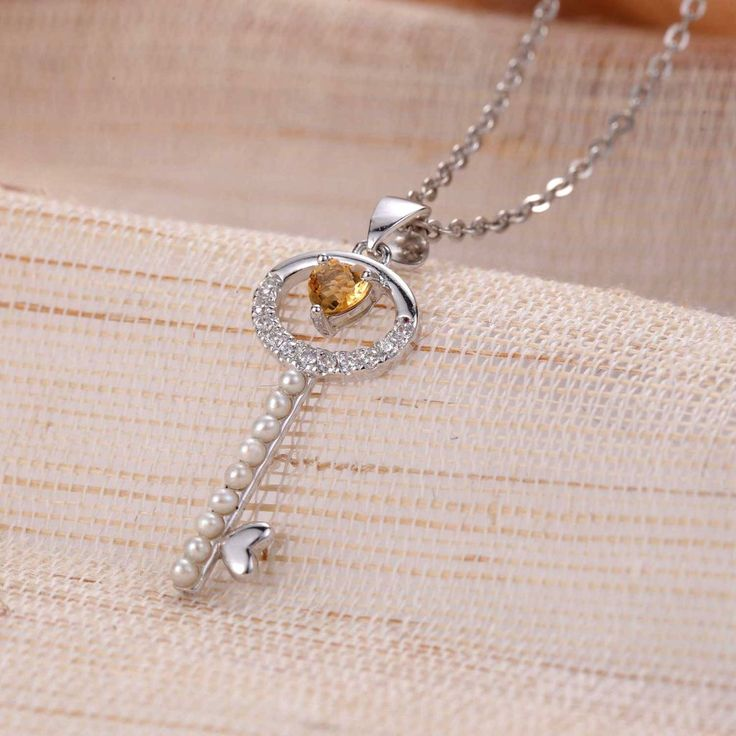 UneJoux Sterling Silver Priya Key Shaped Pendant Necklace With Citrine - UneJoux