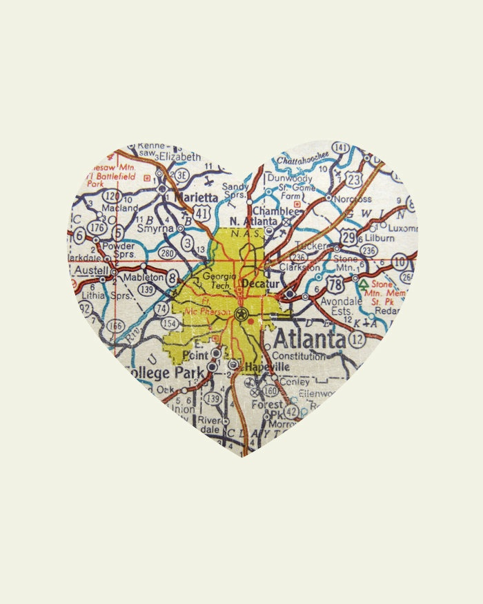 Atlanta Art City Heart Map Wood Block Art Print by LuciusArt