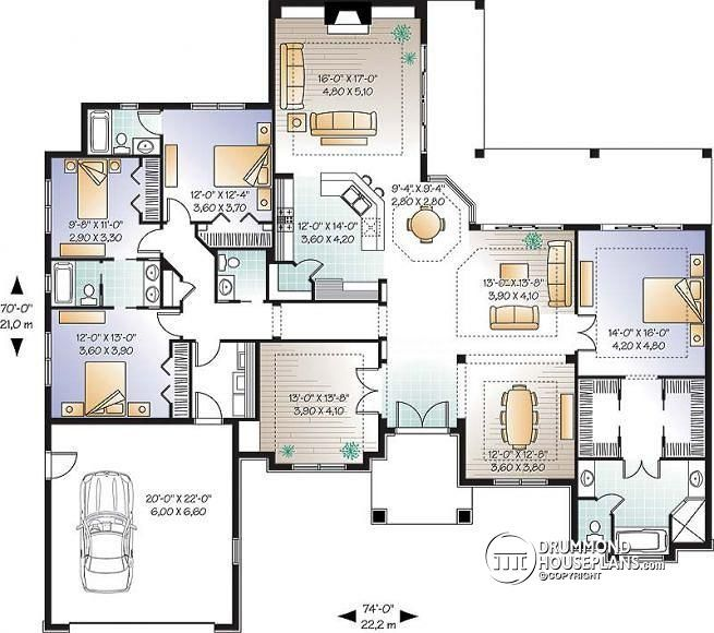 W3254 4 bedroom home large master suite home office for Four bedroom open floor plan