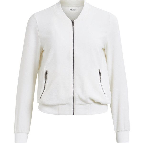 Bomber Jacket | Object Collectors Items ($57) ❤ liked on Polyvore featuring outerwear, jackets, gardenia, white bomber jacket, white zipper jacket, blouson jacket, style bomber jacket and tall jackets
