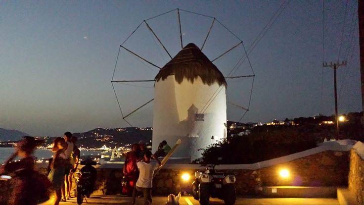 Windmills at night, Mykonos town