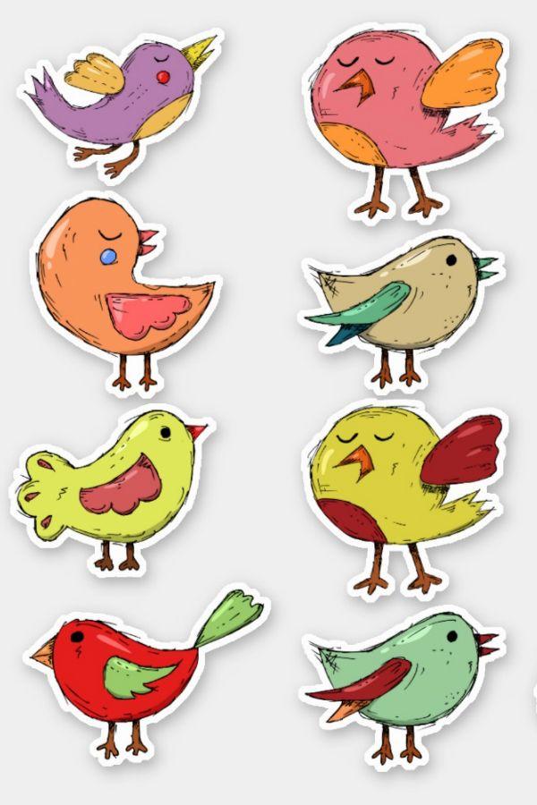 Fun Cute Little Bird Drawing Kids Colorful Contour Sticker Zazzle Com In 2021 Bird Doodle Bird Drawings Doodles