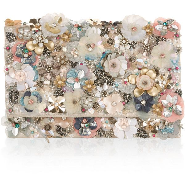 Accessorize Katrina Floral Foldover Clutch Bag ($59) ❤ liked on Polyvore featuring bags, handbags, clutches, sequin handbags, foldover purse, flower print handbags, flower print purse and fold over handbag