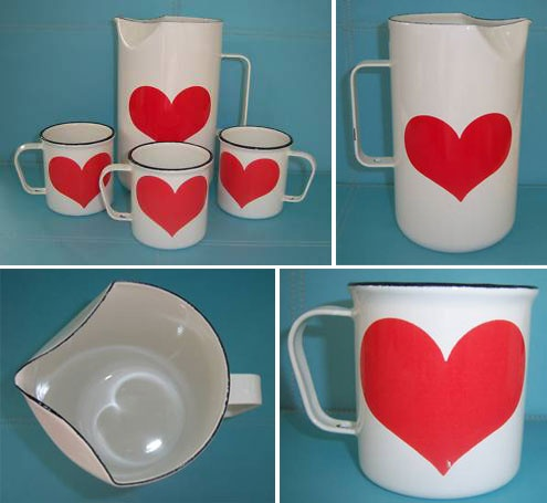 Vintage Arabia #FINEL Enamel Pitcher and 3 Mugs Kaj Franck. (for mum)