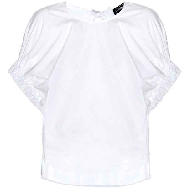 Salvatore Ferragamo Ruffled Cotton Blouse (5.789.815 IDR) ❤ liked on Polyvore featuring tops, blouses, white, cotton blouse, flounce blouse, ruffle blouse, frilly blouse en white ruffle blouse