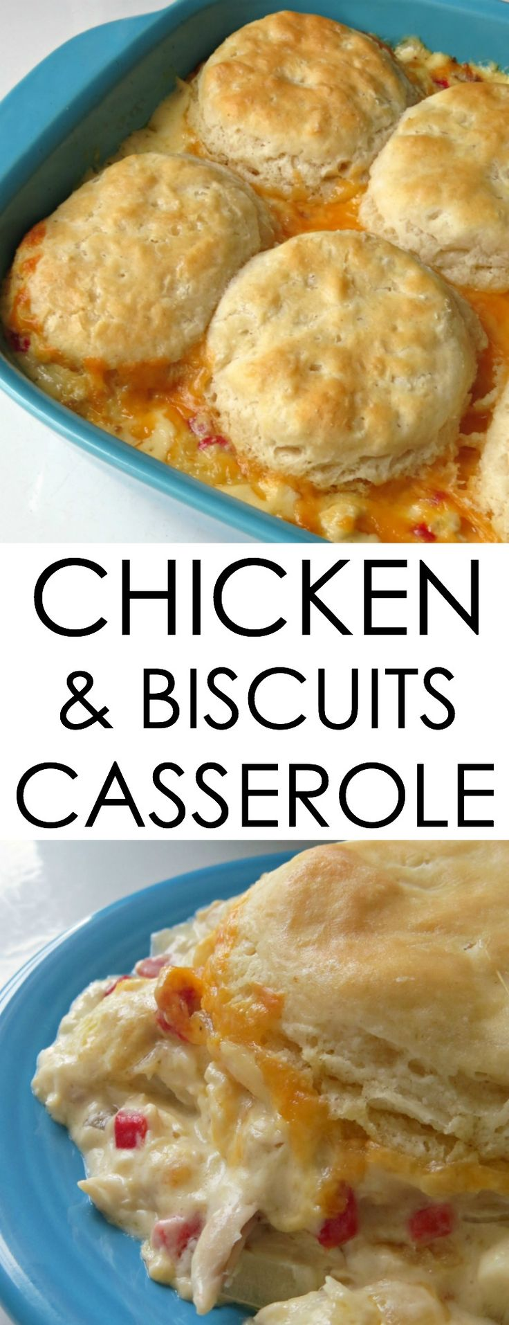 Looking for easy chicken recipes? This Chicken and Biscuits Casserole recipe is comfort food made with Rotisserie chicken that's creamy and delicious!