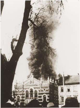 The Synagogue of Opava in Sudetenland, Germany burning during Kristallnacht, 1938