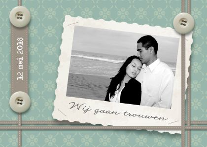 POOZ trouwkaart Lint knoop en Foto - Trouwkaarten - Kaartje2go