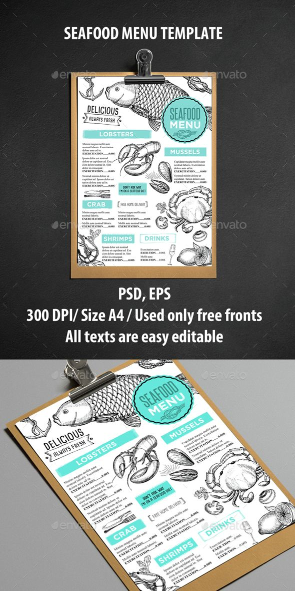 Seafood Restaurant Menu Template PSD, Vector EPS. Download here: http://graphicriver.net/item/seafood-menu-restaurant-/14593662?ref=ksioks