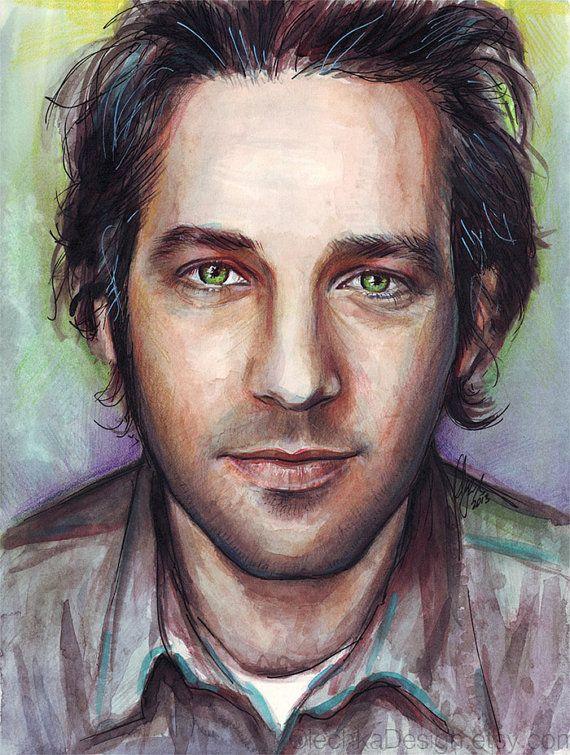 Paul Rudd Watercolor Portrait Giclee Art Print by OlechkaDesign, $12.00