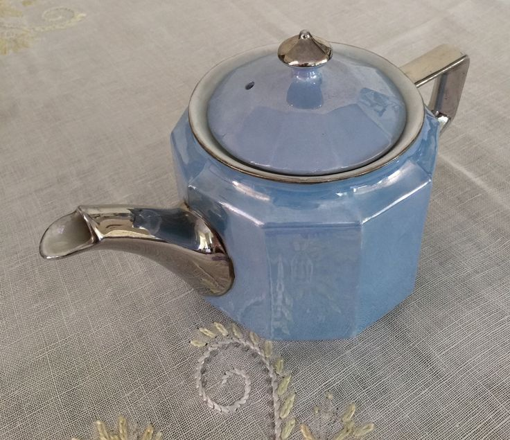 Vintage Teapot, Art Deco Lustreware, Blue &Silver, Made in Germany, Eclectic Tea Set by CakeBoxVintage on Etsy https://www.etsy.com/listing/240253442/vintage-teapot-art-deco-lustreware-blue