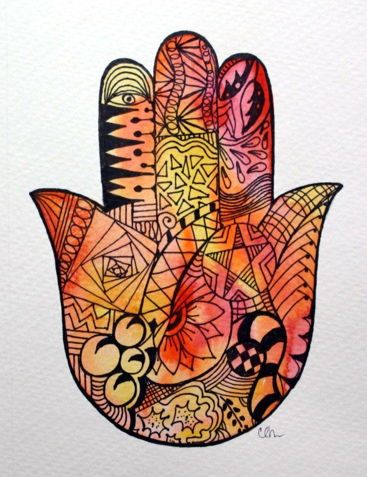 Watercolor card -  Zentangle Hamsa Hand,  Etsy