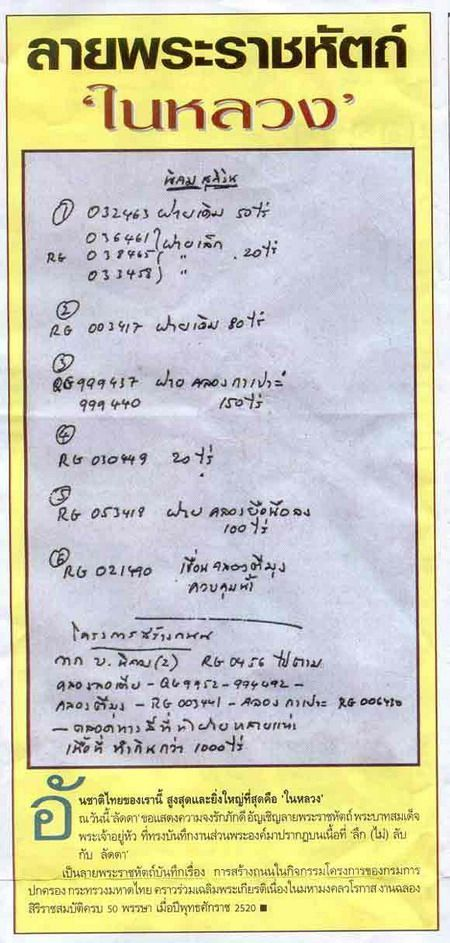 King Bhumibol's Handwriting