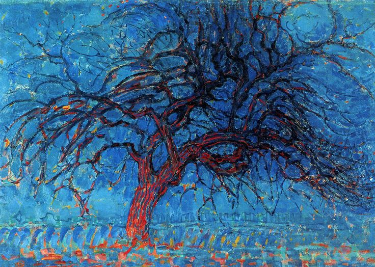 Avond (Evening): The Red Tree enlarge    Artist: Piet Mondrian Start Date: 1908 Completion Date:1910 Style: Post-Impressionism Genre: landscape Technique: oil Material: canvas Dimensions: 70 x 99 cm Gallery: Haags Gemeentemuseum, The Hague, Netherlands