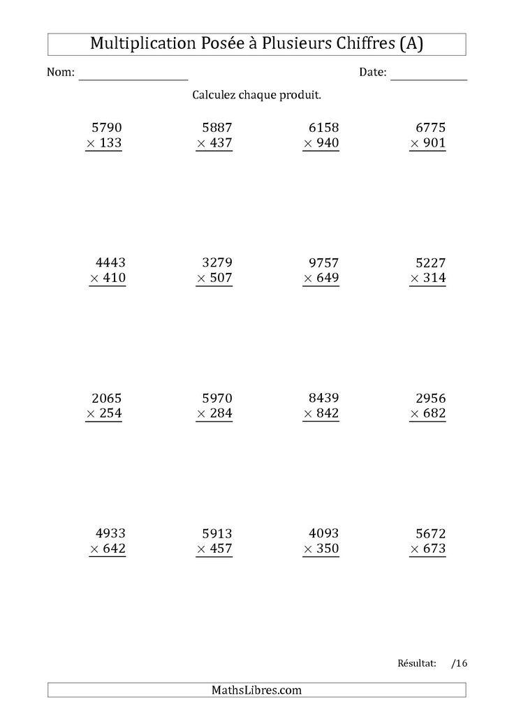 La Multiplication d'un Nombre à 4 Chiffres par un Nombre à 3 Chiffres (A) Fiche…