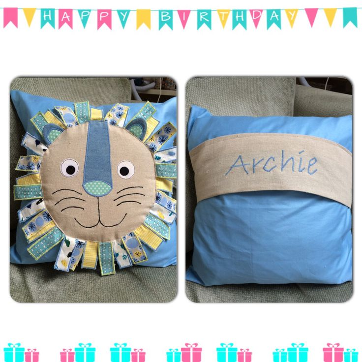 Lion cushion sewing baby boy birthday appliqué