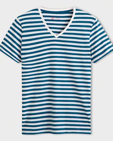 Les Petits Prix T-Shirt i fargene Stripet marineblå/hvit, Grønn/hvit stripet, Grå/rosa stripet, Blå/hvit innen $GenderDepartment - T-skjorte - La Redoute
