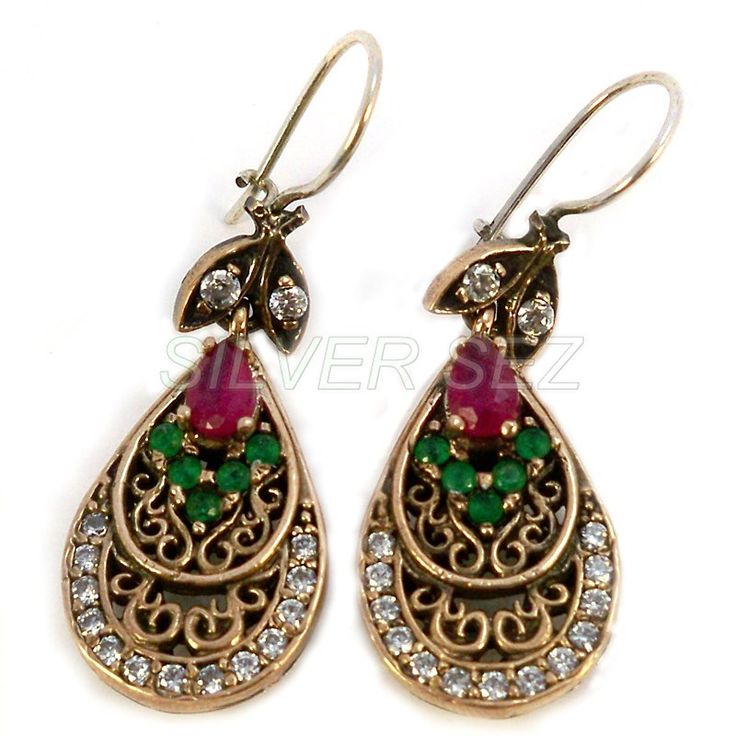 925 sterling silver earrings mihrimah sultan turkish handmade ruby emerald color ottoman
