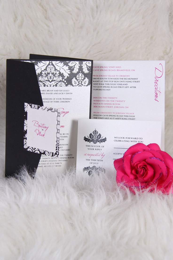 fairytale bridal shower invitation wording%0A Black  White  and Hot Pink Damask Theme Wedding Invitation  www papercreations ca