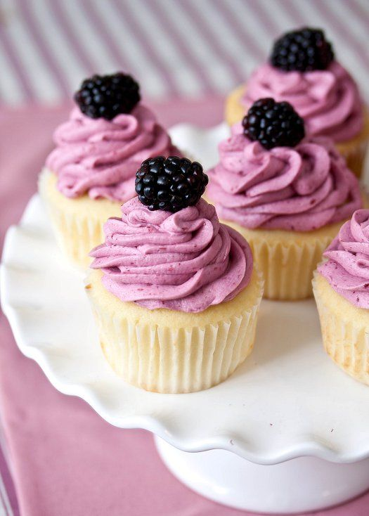 Lemon Cupcakes with Blackberry Buttercream Frosting