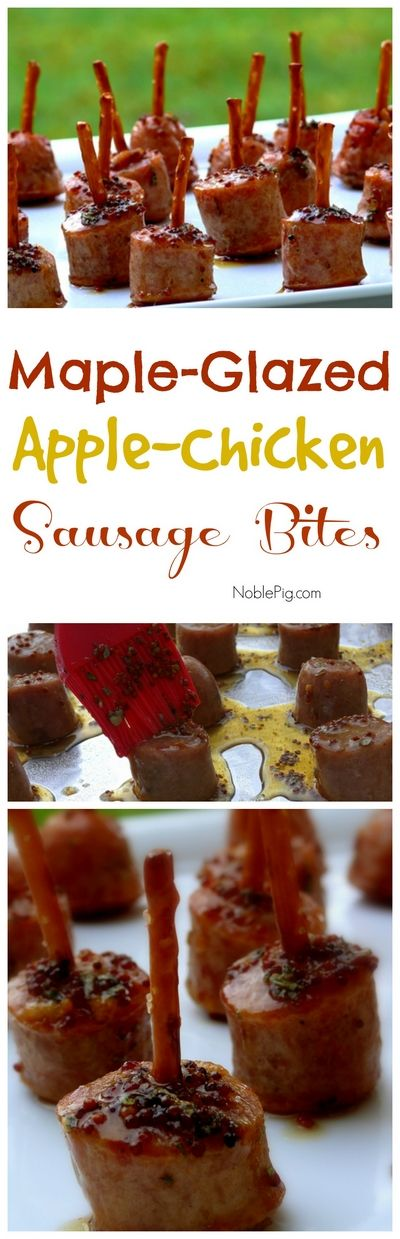 Maple Glazed Apple-Chicken Sausage Bites. Who needs a toothpick? So perfect as a passed appetizer for the holidays, from NoblePig.com