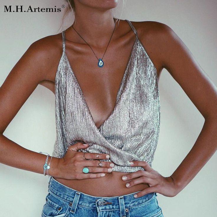 M.H.Artemis Bronzing Vintage Chic Camisole Deep V Beach Crop top Elegant Tank Top Women Sexy Boho Backless Retro Ladies Camis #womantanktop