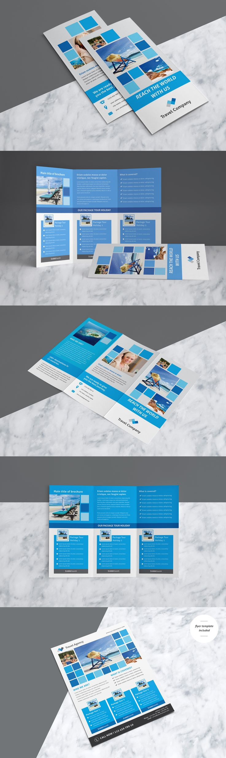 Professional & Creative Travel Trifold Brochure With Flyer Template Included - AI, EPS
