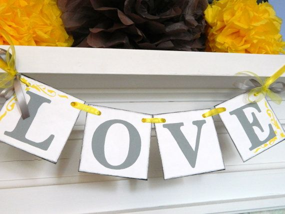 Love Banner/ Wedding Reception Decor/ Bridal by anyoccasionbanners, $11.00