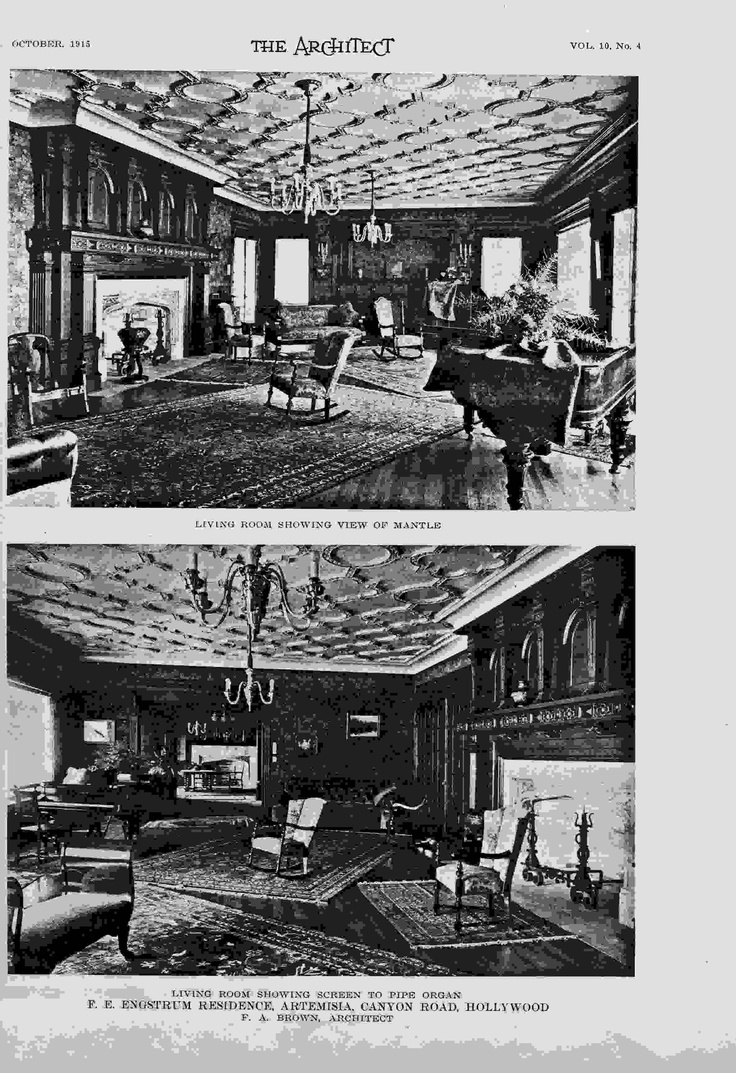 Living rooms views from the 1915 Architect magazine article.  The furniture looks staged for the photo shoot, doesn't it?