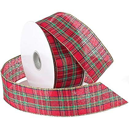 Morex Ribbon Festival Wired Plaid Fabric Ribbon, 2-1/2-Inch by 50