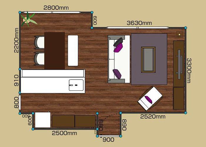 リビングダイニングルーム 1ldk 12畳 2d レイアウト 中庭 ウッドデッキ インテリアコーディネート 実例