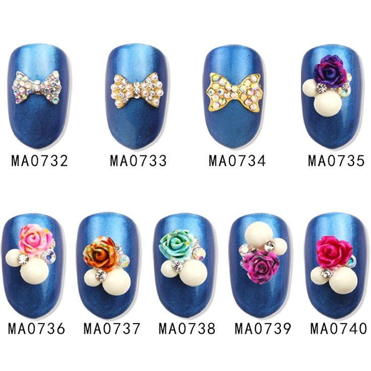 10Pc/Lot Silver Alloy Glitter 3d Nail Art Flower Bowtie Decorations with Rhinestones Nail Charms Jewelry on Nails Salon Supplies #Affiliate